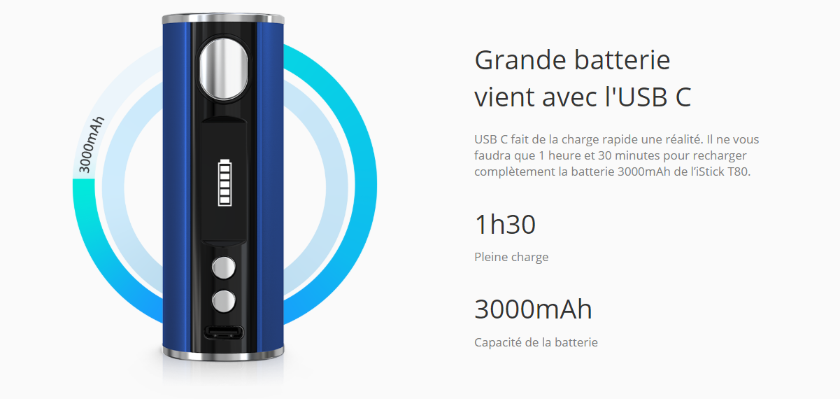Eleaf Kit T80 et Melo 3 Mini  batterie